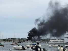 The Coast Guard said they were responding to a blaze on a 26-foot private boat caused by a fire in the valve thrusters.