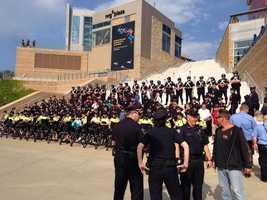 Police gather at Gillette Stadium to celebrate Danny's birthday.