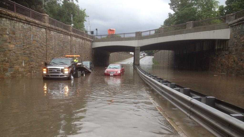 Flooding on Route 9 east in Wellesley