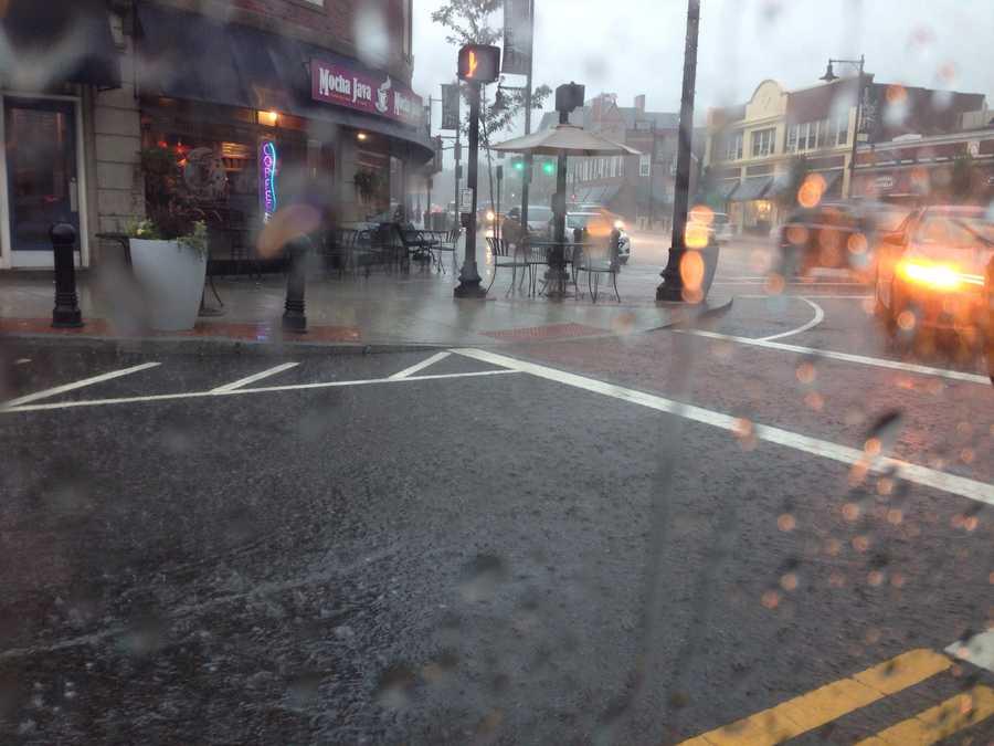 Rain falls in Dedham