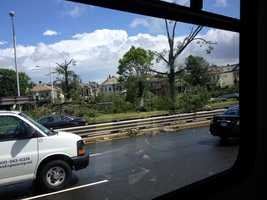 Trees down along Broadway in Revere.