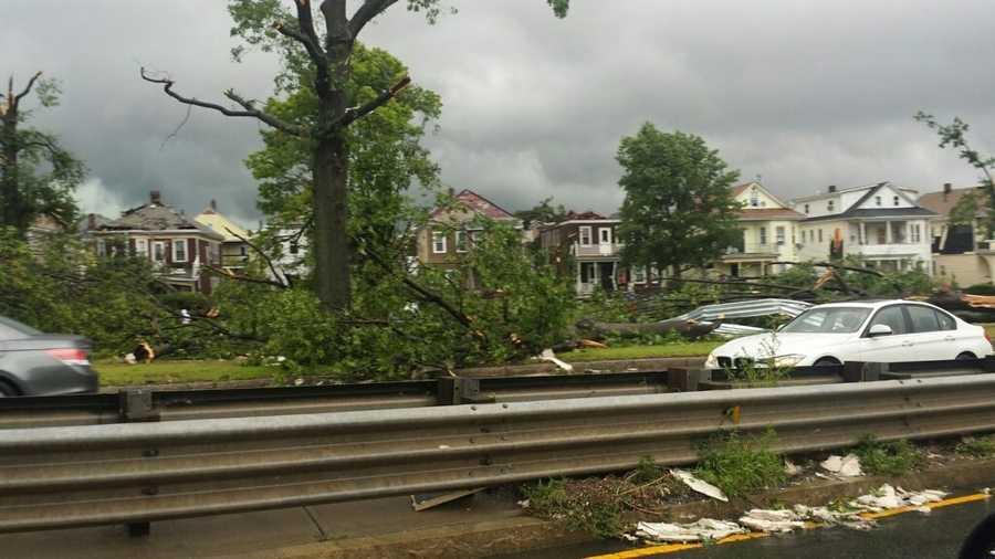 Damage along Broadway in Revere.