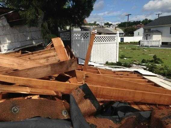 The roof was peeled of a home in Revere.