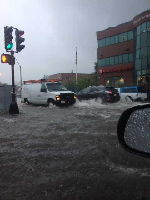 Western Ave/Everett Street intersection in Brighton at 9:30 a.m.