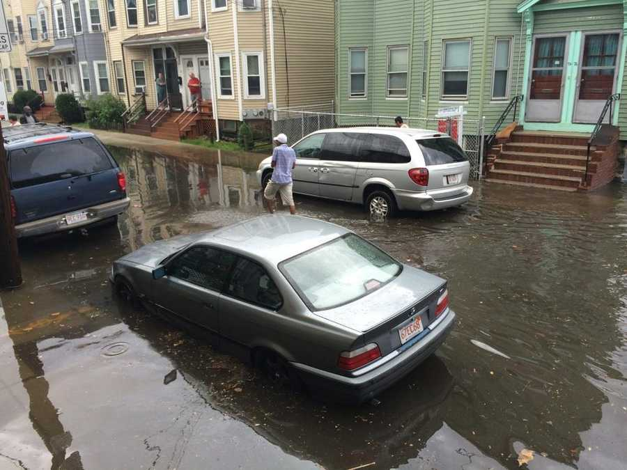 Flooding on Hano Street in Allston.
