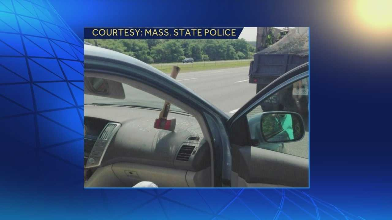 Ax flies out of truck, smashes into car windshield on I-95