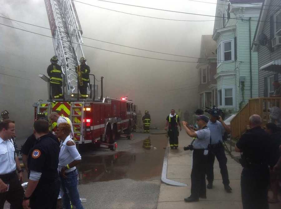 Firefighters were battling a 3-alarm blaze in Lawrence Saturday afternoon.