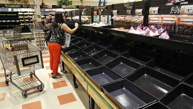 A shopper examines produce near empty bins in a Market Basket grocery store, Tuesday, July 22, 2014, in Chelsea, Mass.