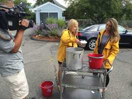 WCVB EyeOpener anchors Erika Tarental and Olessa Stephanova also accepted the challenge.
