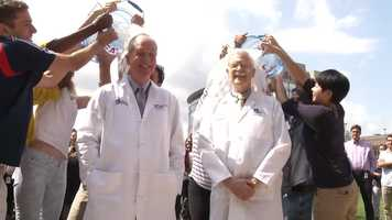 University of Massachusetts Medical school chancellor Michael Collins and researcher Dr. Robert Brown also got iced.