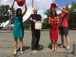 As the pour the ice water over themselves (Cindy gets a bit of help from a WCVB co-worker), Randy has a trick up his sleeve.