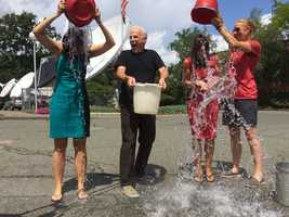 While Emily and Cindy pour their ice water, Randy watches in amusement.