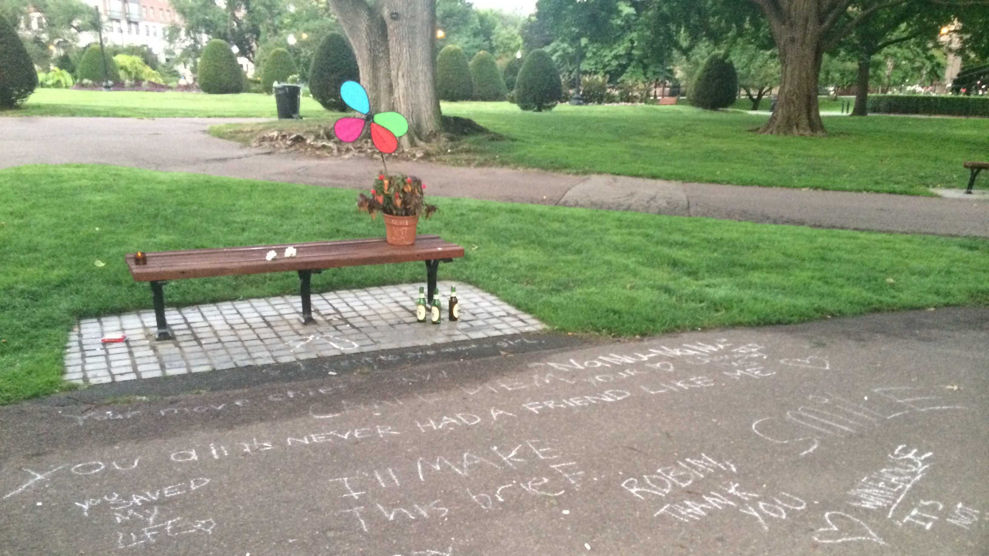 Bench in Boston with williams quotes
