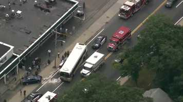 Several injuries have been reported in a crash involving an MBTA bus and a car in Randolph on Tuesday.