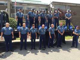Members of the Massachusetts State Police get ready to take the ALS #IceBucketChallenge