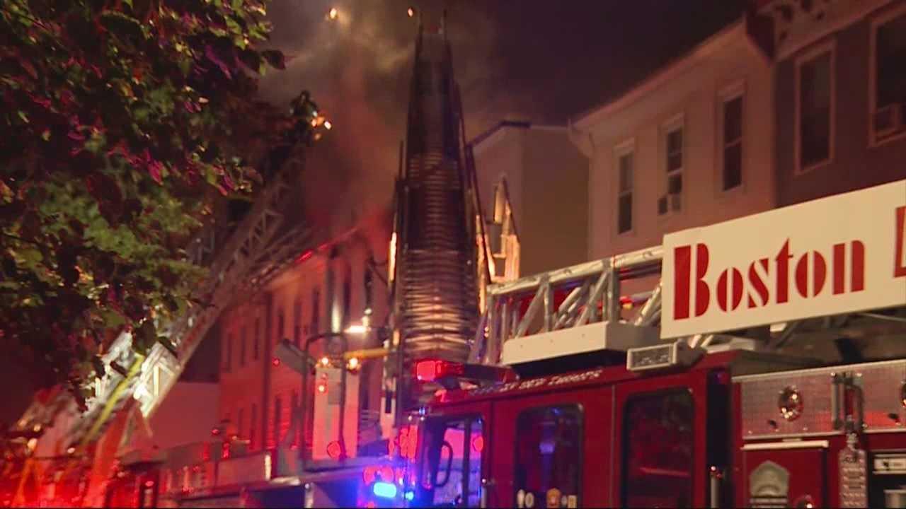 Crews battle three-alarm fire