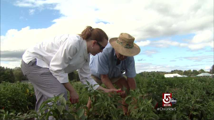 On this day she is tasting varieties of peppers with Verrill Farms' owner, Steve Verrill.