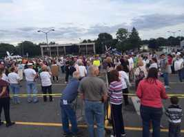August 16:customers rally outside one of Market Basket's Tewksbury stores.