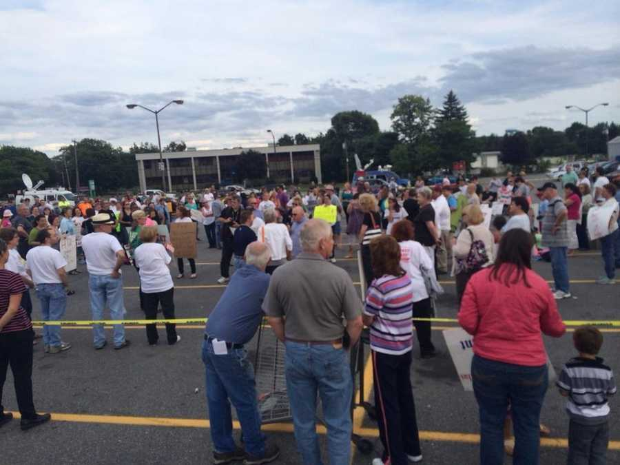 August 16: customers rally outside one of Market Basket's Tewksbury stores.