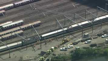 An Amtrak train and an MBTA commuter rail train were involved in an accident in a yard near South Station in Boston Wednesday.