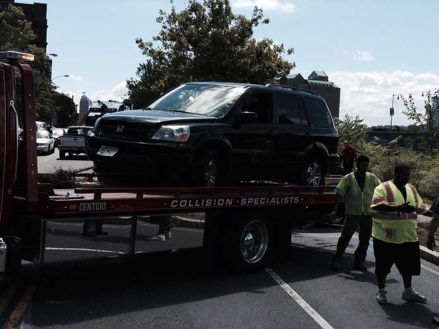 No injuries were reported Friday when an SUV crashed into the Charles River in Cambridge.