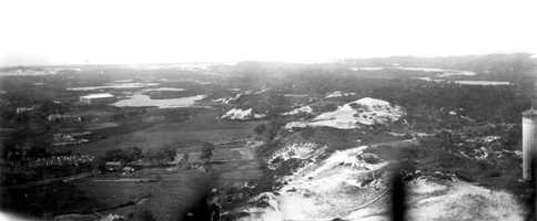 Cape Cod National Seashore, Massachusetts. Clapps Pond (right) and Shank Painters Pond (left), looking west from Pilgrim Monument in Provincetown. August 29, 1916