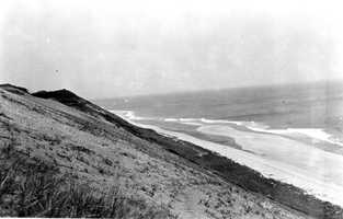 Cape Cod National Seashore, Massachusetts. Ocean shore about 2 miles south of Highland Light, looking north 35 degrees west, from coast guard trail. June 5, 1916.