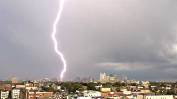Lightning strikes Boston