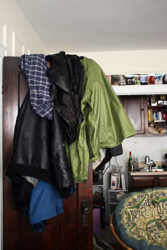It's easy to throw coats in a pile near the entryway, but it doesn't look tidy.