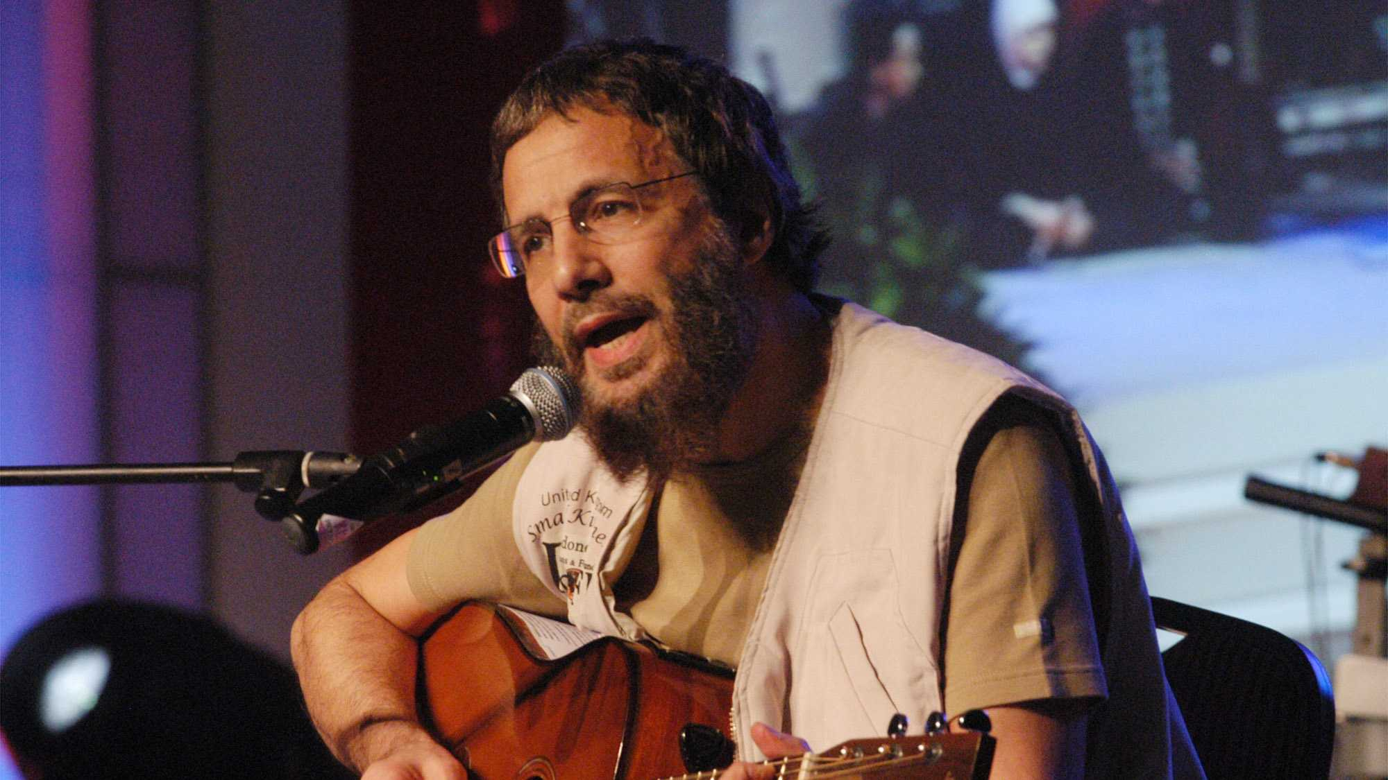 Yusuf Islam, the singer formerly known as Cat Stevens, performs during a fund-raising concert for the tsunami victims in Jakarta, Indonesia, Monday, Jan. 31, 2005.