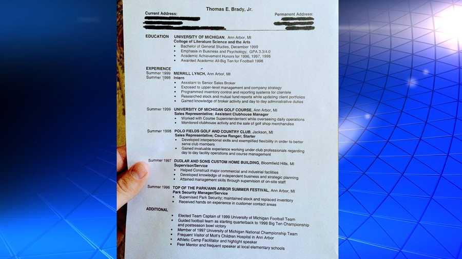 tbt tom brady reveals old college resume