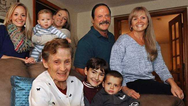 Marie Larner is celebrating 25 years of living, after her heart transplant, with children, grandchildren, and great grandchildren. Seen with her on the sofa are great grandsons David Medeiros, 9, and Andrew Machado, 2. Behind (from left) are: Marie's granddaughters Andrea Machado and Valerie Hill, who holds great grandson Elias Hill, 7 month old, her son in law Michael DeCosta, and her daughter Debra DeCosta.