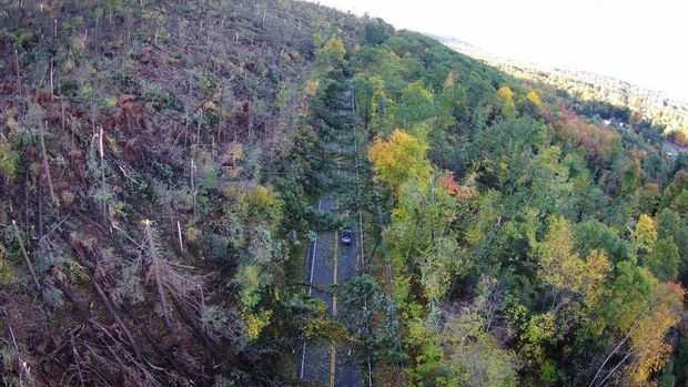 A birds-eye view of Easthampton damage