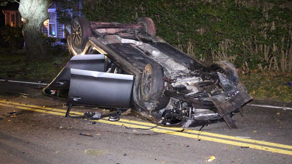 A Barnstable man was driving while under the influence at 80 mph when his car rolled over on Friday.