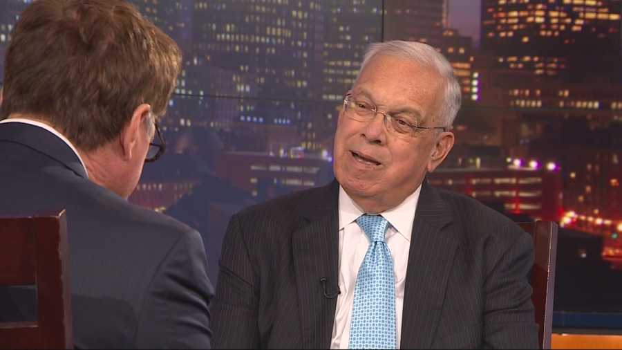 """Menino discusses his book """"Mayor for a New America"""" with NewsCenter 5's Ed Harding in October 2014."""