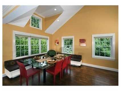 The kitchen/ family room also includes an inviting banquet.