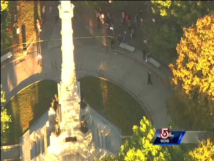 Police surrounded the monument inside Boston Common park where the park rangers were reportedly stabbed multiple times by a man.