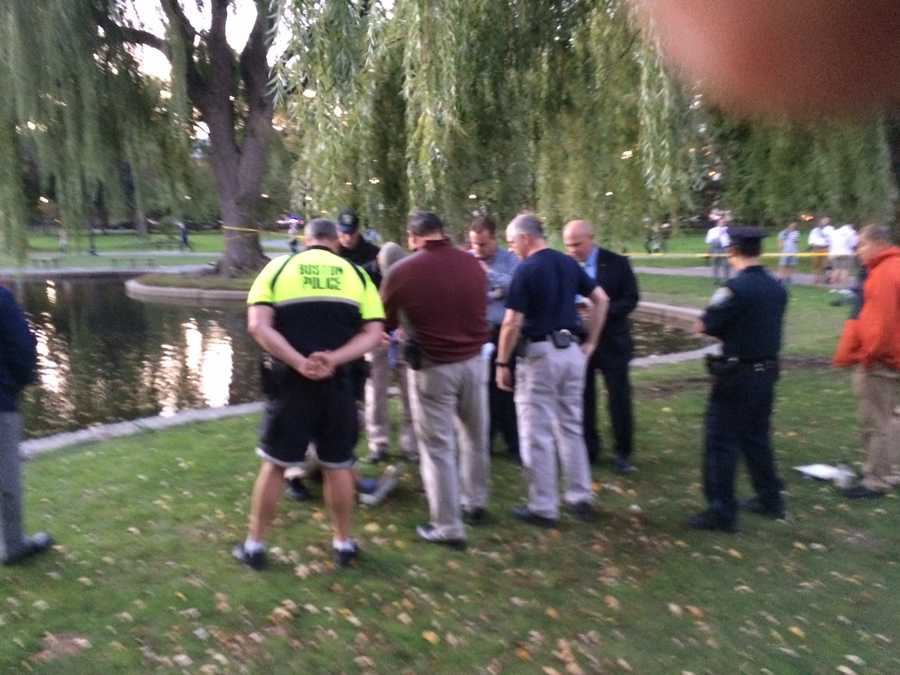 Police investigating evidence in connection to the stabbing on Boston Common.