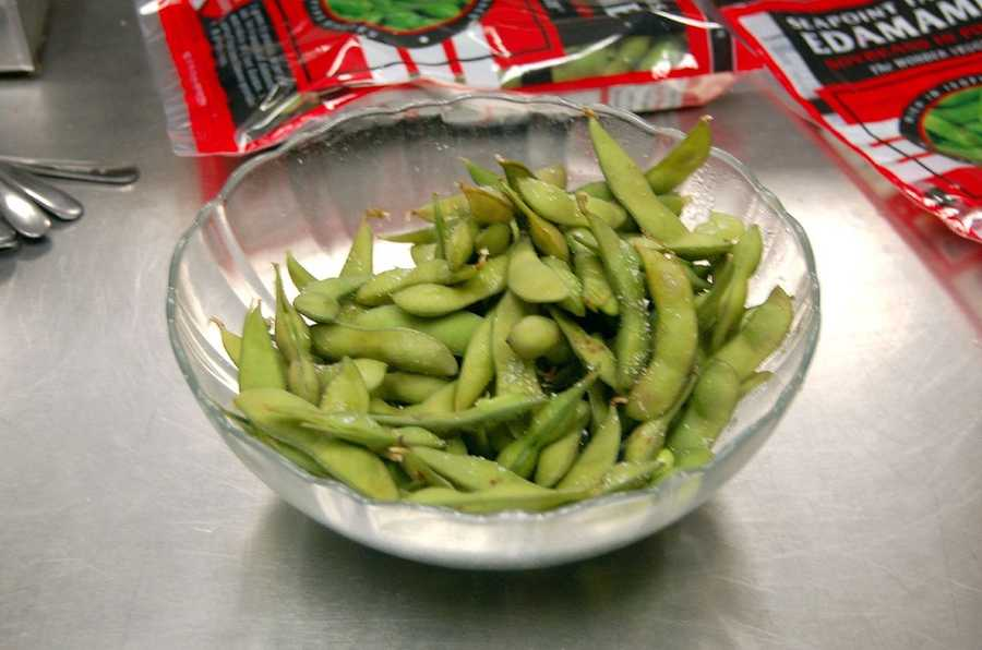 EdamameEdamame contains the perfect balance of protein and fiber to eat it as a standalone snack by itself. You can even season it lightly with salt to give it an extra bit of flavor.