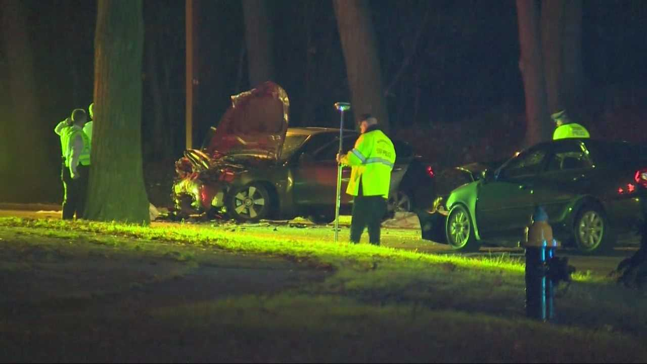 Two cars collided on the Jamaicaway in Boston early Sunday morning