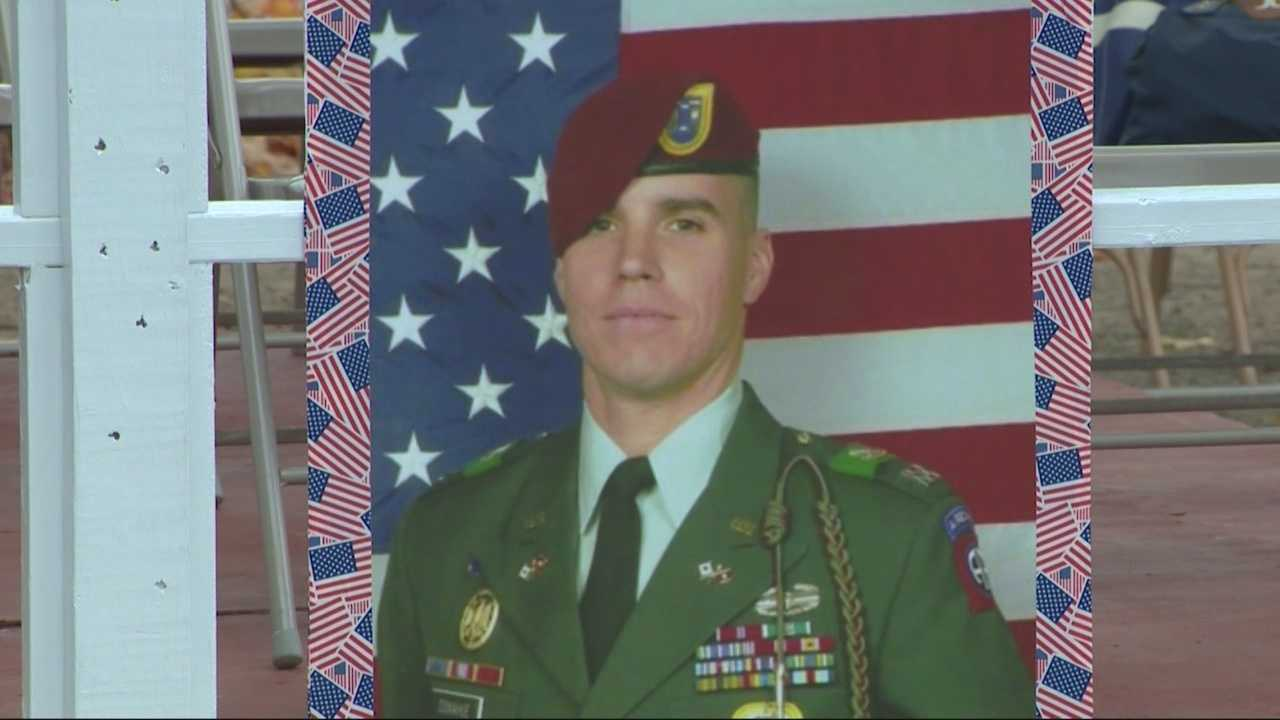 Hundreds gathered Sunday in Whitman to remember and pay tribute to Maj. Michael Donahue, who was killed in Afghanistan last month.