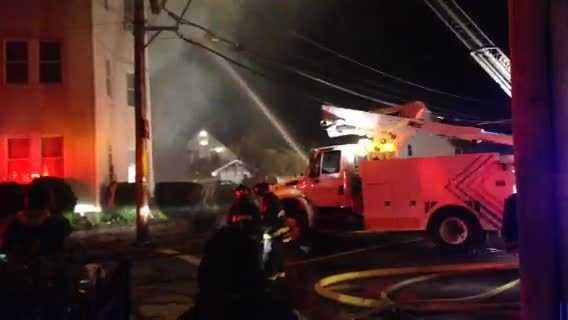 Crews from several communities battled the flames.