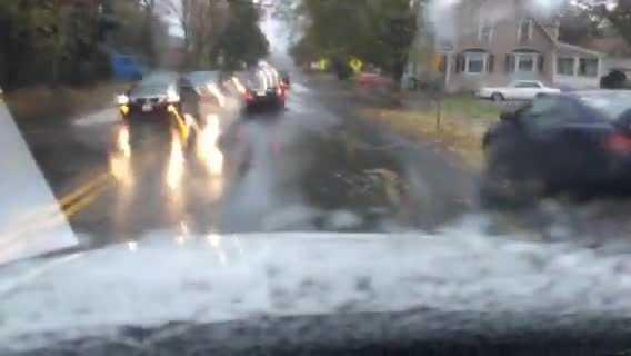 Flooded roads in Danvers.