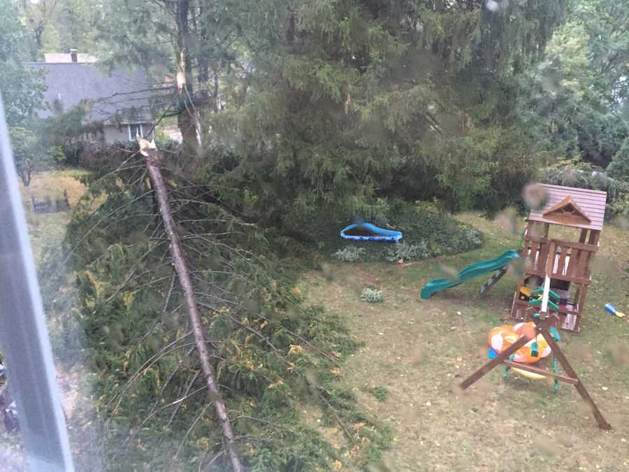 Swing set spared in Milton.