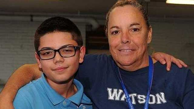"Watson student Dominick Hernandez, 5, was saved from choking by cafeteria worker Christine ""Miss Chris"" Saurette."