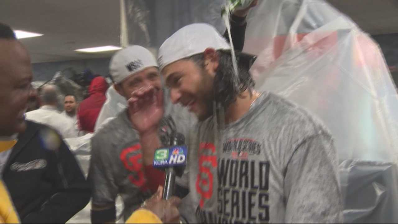 Champagne flowed freely in the Giants' locker room at Kauffman Stadium while aerial footage was showing a crazy fan sitch on the streets of San Francisco. Del Rodgers reports after Game 7.