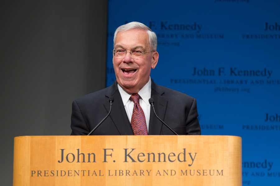 Menino is honored at a tribute at the John F. Kennedy Library in Boston on Dec. 13, 2013.