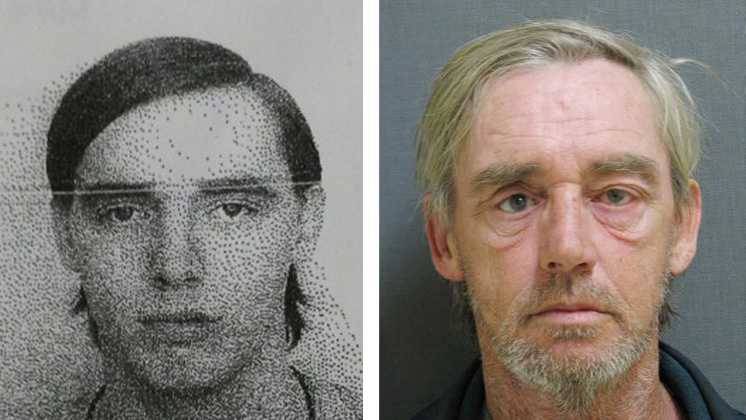 Albert Marcheterre in his 1980 Aroostook County Sheriff's Office booking photo, left, and his 2014 Vermont State Police booking photo.