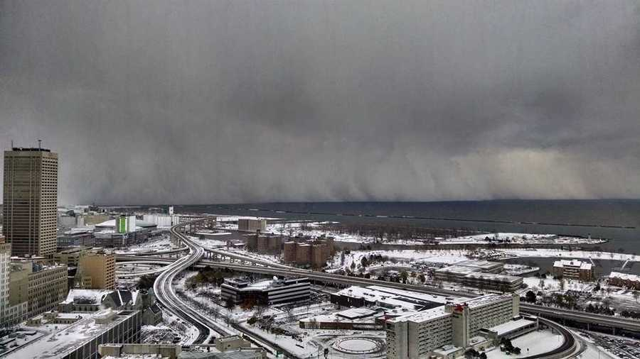 """Shawn Smith - """"Looking south from the 28th floor observation deck on top of Buffalo City Hall. The Lake Effect snow band is a huge wall of white!"""""""
