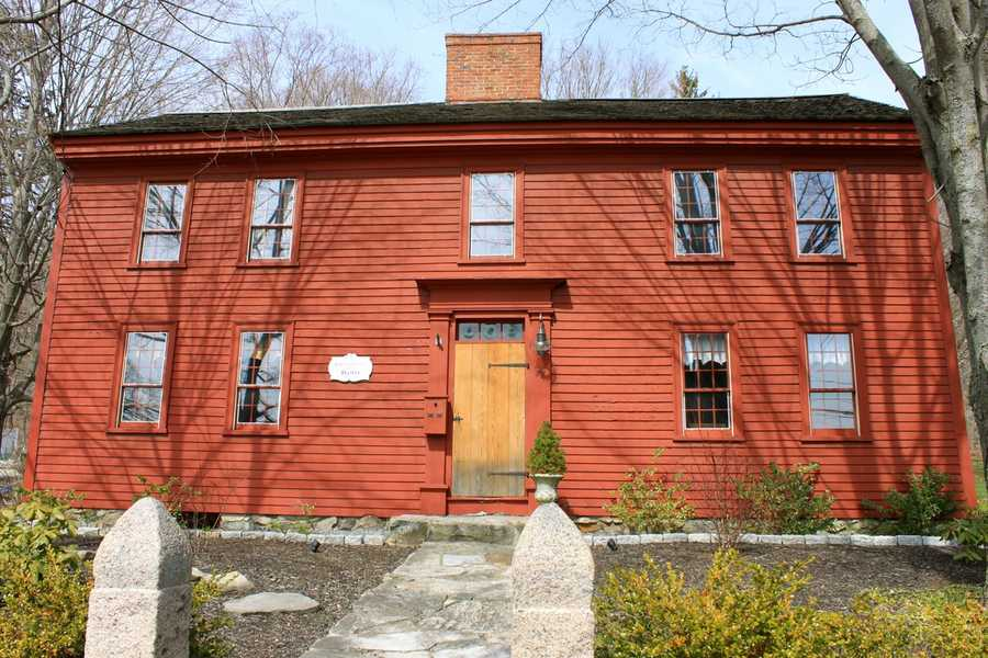 """The John Kimball house at 77 High Street was built in 1680 and features timber frame construction and a """"Beverly jog"""" added on the left side for a second entrance. A chamfered summer beam is featured in the left front room, with wide-board tongue and groove wall boards.Read more at Historic Ipswich. All photos courtesy Gordon Harris, Town Historian.  Read his blog on Ipswich historic homes."""